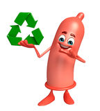 Condom Character with recycle sign Royalty Free Stock Photo