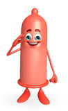 Condom Character with salute pose Royalty Free Stock Photo
