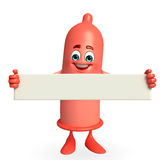 Condom Character with sign Royalty Free Stock Image