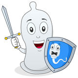 Condom Character with Sword & Shield. A funny cartoon condom character holding a sword and a shield, isolated on white background. Concept of prevention Stock Photos