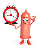 Condom Character with table clock Royalty Free Stock Photo