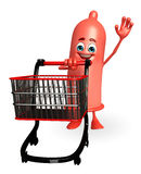 Condom Character with trolley Stock Images