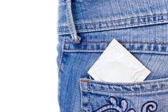 Condom dans la poche Photos libres de droits