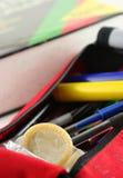 Condom dans le crayon-boîtier Photos libres de droits