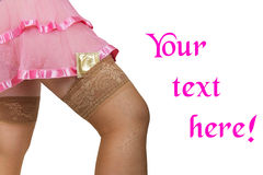 Condom in female stockings Royalty Free Stock Image