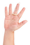 Condom on finger isolated Stock Photography
