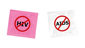 Condom with HIV and AIDS ban logo Stock Photography