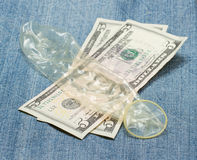 Condom on jeans Royalty Free Stock Photography