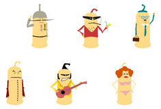 Condom like characters set. Royalty Free Stock Photography