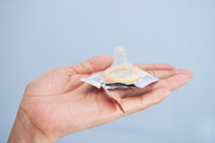 Condom on plam Royalty Free Stock Images