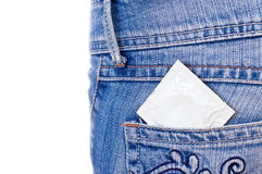 Condom in pocket Royalty Free Stock Photos