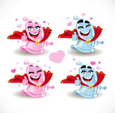 Condom smiles Superman and the Superwoman Stock Images