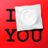 Condom with text I love you Stock Images