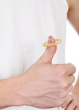 Condom on thumb Royalty Free Stock Images