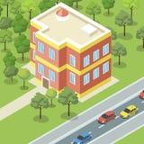 Condominio moderno cerca de la bandera del camino stock de ilustración