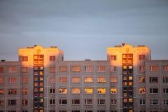 Condominio nei raggi del tramonto Fotografie Stock