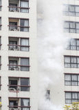 Condominium or apartment burning. Royalty Free Stock Photo