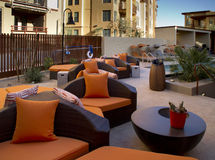 Condominium homes outdoor plaza patio and pool Stock Image