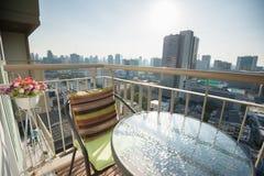 Condominium. Modern balcony in capital condominium stock image