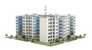 Condominium or modern residential building. Real estate development and the concept of urban growth. 3d illustration stock photos