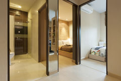 Condominium. Room in condominium set for two bedroom royalty free stock photography