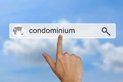 Condominium on search bar Royalty Free Stock Photography