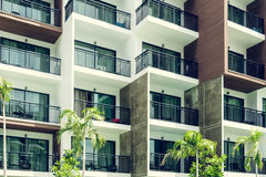 Condominium and swiming pool life of City people in modern town Royalty Free Stock Photos