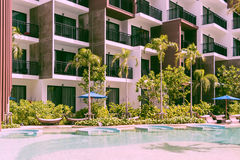 Condominium and swiming pool life of City people in modern town Royalty Free Stock Photography