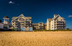 Condominiums along the beach at Old Orchard Beach, Maine. Stock Photos