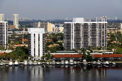 Condominiums with private boat docks Stock Photo