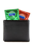 Condoms in black wallet Stock Photography