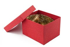 Condoms in open cardboard box. Many tapes of condoms in open cardboard box Royalty Free Stock Image