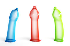 Condoms RGB. Three color condom, isolated on a white background Royalty Free Stock Photos