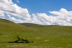 Condon Hills. Gently rolling grass covered hills, south of Condon Oregon Stock Image