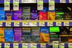 Condones en la farmacia Fotos de archivo libres de regalías
