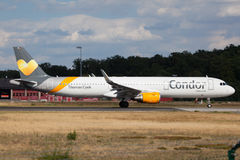 Condor Airbus A321. FRANKFURT, GERMANY - JULY 21: Condor Airbus A321 starting at the Frankfurt International Airport (FRA). July 21, 2015 in Frankfurt Main Stock Images