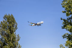 Condor aircraft D-ABUH in landing approach at Frankfurt Rhein Ma Royalty Free Stock Photo