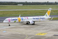 Condor Boeing 757-330  is ready to go. Duesseldorf, Airport, North Rhine-Westphalia, Germany - October 24, 2017 Royalty Free Stock Photos
