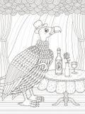 Condor gentleman coloring page. Condor gentleman with wine - adult coloring page Stock Image