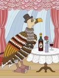 Condor gentleman coloring page. Condor gentleman with wine - adult coloring page Stock Photos