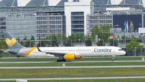 Condor plane doing taxi in Munich Airport, MUC stock video