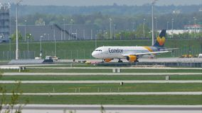Condor plane doing taxi in Munich Airport, MUC stock footage