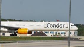 Condor plane taxiing in Frankfurt Airport, FRA stock footage