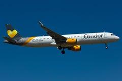 Condor A321 Plane. Condor Thomas Cook A321 Plane in the sky royalty free stock photography