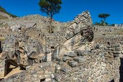 Condor temple Machu Picchu ruins peruvian Andes Cuzco Peru Stock Photography