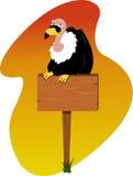 Condor on a wooden sign. A  cartoon showing a condor sitting on a wooden sign Stock Photos