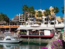 Condos around marina. Condos around the Marina at Cabo San Lucas Baja California Mexico. Restaurants, fishing boat, hustle and bustle Royalty Free Stock Photography