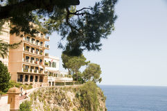 Condos cliff over Mediterranean Sea Monte Carlo Stock Photography