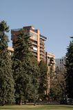 Condos at the Park. Luxury condominiums overlook a park Royalty Free Stock Photo