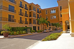 Condos in sunny Florida. The entrance to bright orange and yellow condos in sunny Florida Stock Photo